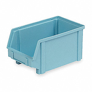 "Hang and Stack Bin, Light Blue, 9-1/2"" Outside Length, 5-3/4"" Outside Width, 5"" Outside Height"