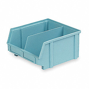 "Hang and Stack Bin, Light Blue, 9-3/8"" Outside Length, 8-3/4"" Outside Width, 5"" Outside Height"