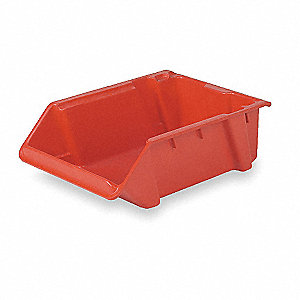 "Stack and Nest Bin, Red, 8""H x 24""L x 16-1/4""W, 1EA"