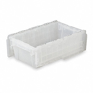 "19-3/4""L x 11-3/4""W x 7-1/4""H High Density Polyethylene Attached Lid Container, Translucent"