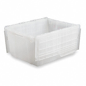 "Attached Lid Container, Translucent, 12-1/8""H x 26-7/8""L x 16-7/8""W, 1EA"