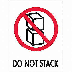 "Shipping Labels, Do Not Stack Legend, Paper, Adhesive Back, 3"" Width, 4"" Height"