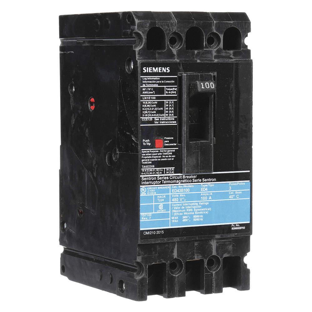 SIEMENS Circuit Breaker, 100 Amps, Number of Poles: 3, 480VAC AC ...
