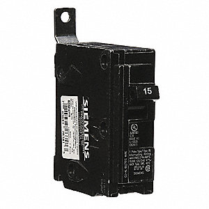 Bolt On Circuit Breaker, 15 Amps, Number of Poles:  1, 120VAC AC Voltage Rating