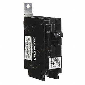 Bolt On Circuit Breaker, 60 Amps, Number of Poles:  1, 120VAC AC Voltage Rating