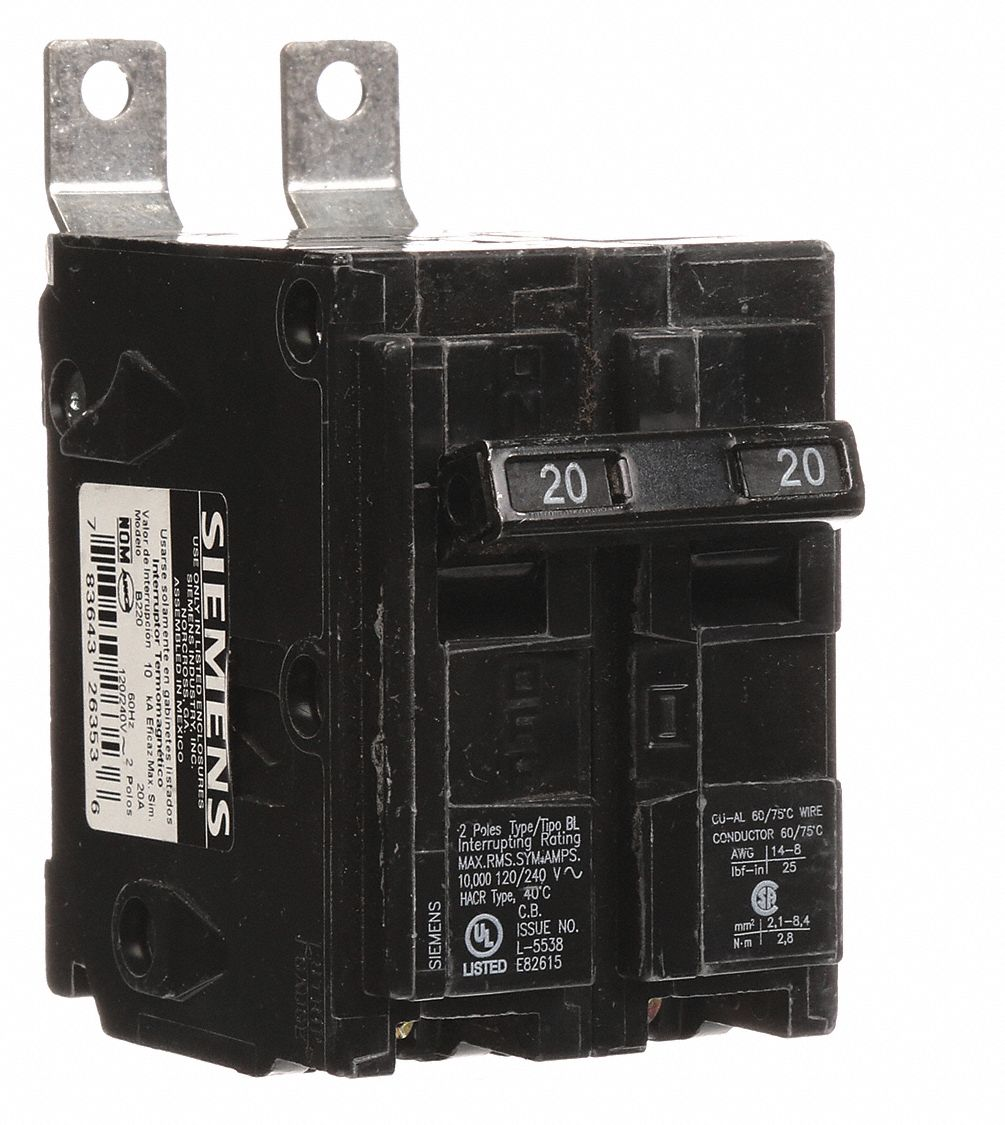 Siemens Bolt On Circuit Breaker 20 Amps Number Of Poles 2 120