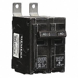 Bolt On Circuit Breaker, 40 Amps, Number of Poles:  2, 120/240VAC AC Voltage Rating