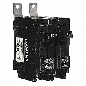 Bolt On Circuit Breaker, 60 Amps, Number of Poles:  2, 120/240VAC AC Voltage Rating