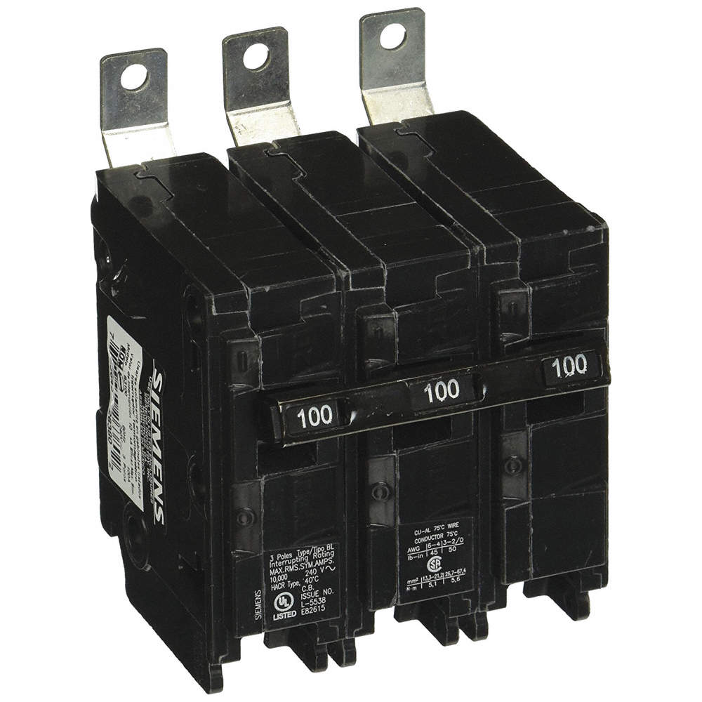 Bolt On Circuit Breaker, 100 Amps, Number of Poles: 3, 240VAC AC Voltage  Rating