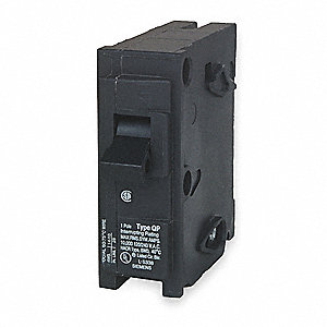 Plug In Circuit Breaker, Q, Number of Poles 1, 20 Amps, 120VAC, Standard