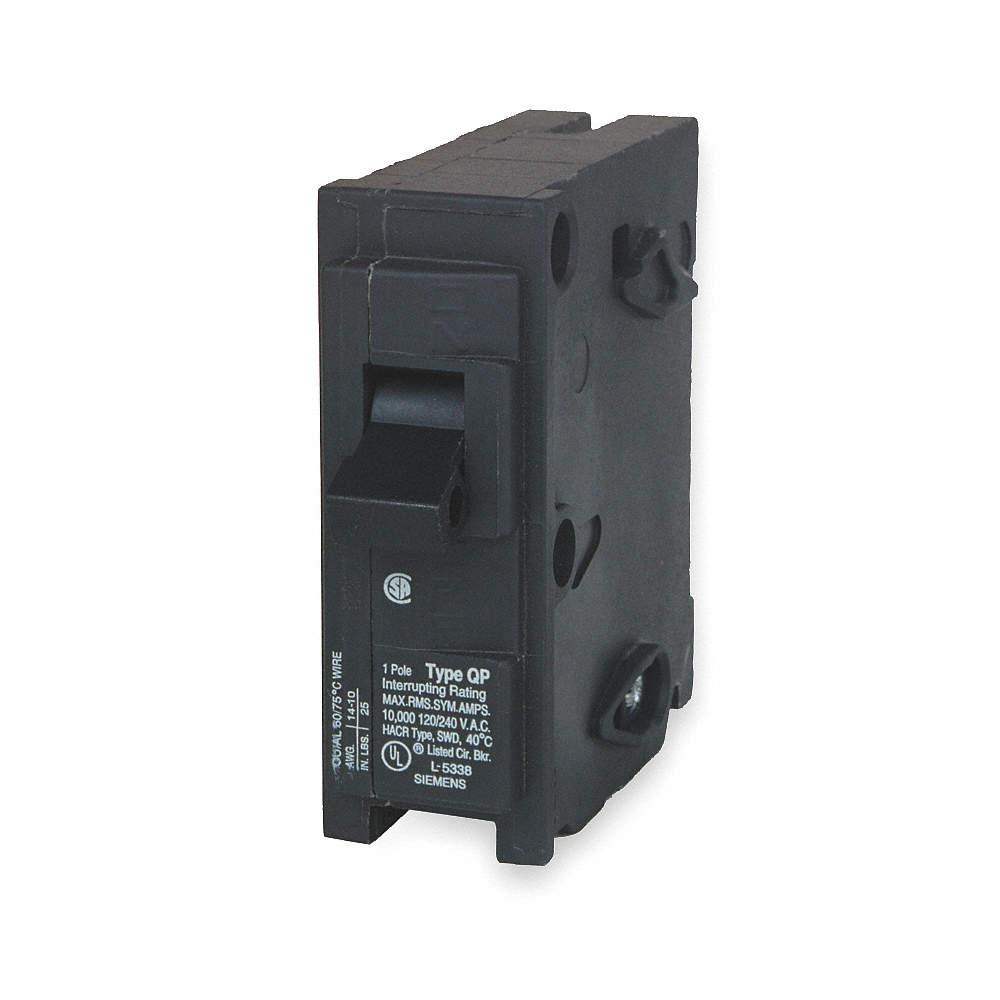 SIEMENS Plug In Circuit Breaker, Q, Number of Poles 1, 15 Amps ...