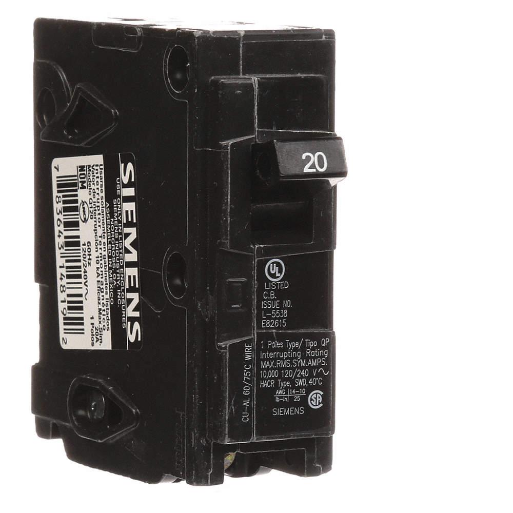 SIEMENS Plug In Circuit Breaker, Q, Number of Poles 1, 20 Amps ...
