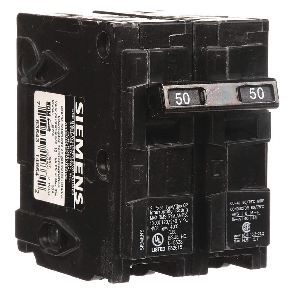 SIEMENS Plug In Circuit Breaker, Q, Number of Poles 2, 50 Amps, 120 ...