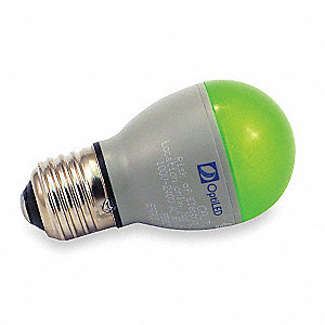 2.5 Watts Green A13 LED Lamp, 27 Lumens