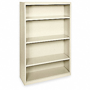 Bookcase,Steel,4 Shelf,Putty