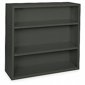 "46"" x 18"" x 42"" Elite Series Stationary Bookcase with 3 Shelves, Black"