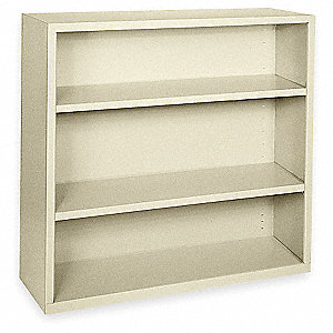 Bookcase,Steel,3 Shelf,Putty,42Hx46W