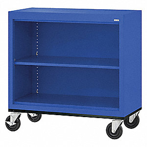 "36"" x 18"" x 36"" Elite Series Mobile Bookcase with 2 Shelves, Blue"