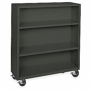 Mobile Bookcase,Steel,3 Shelf,Black