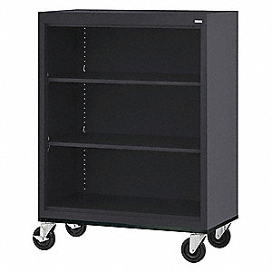 "36"" x 18"" x 48"" Elite Series Mobile Bookcase with 3 Shelves, Black"