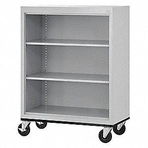 "36"" x 18"" x 48"" Elite Series Mobile Bookcase with 3 Shelves, Dove Gray"