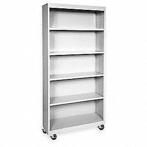 Mobile Bookcase,5 Shelf,Dove Gray,78x36
