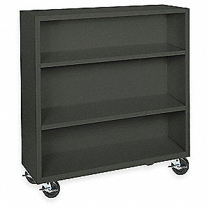 "46"" x 18"" x 48"" Elite Series Mobile Bookcase with 3 Shelves, Black"