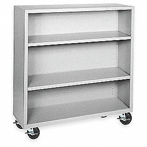 "46"" x 18"" x 48"" Elite Series Mobile Bookcase with 3 Shelves, Dove Gray"