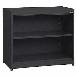 Radius Corner Bookcase,Steel,2 Shelf,Blk