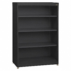 "36"" x 18"" x 52"" Elite Series Stationary Bookcase with 4 Shelves, Black"