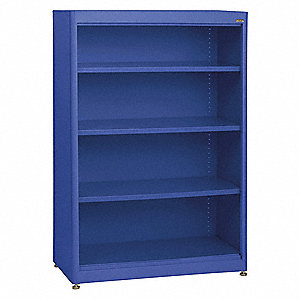 "36"" x 18"" x 52"" Elite Series Stationary Bookcase with 4 Shelves, Blue"