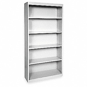 "36"" x 18"" x 72"" Elite Series Stationary Bookcase with 5 Shelves, Dove Gray"