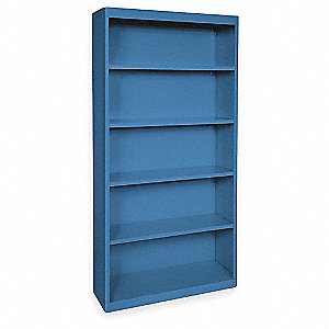 Radius Corner Bookcase,Steel,5 Shelf,Blu