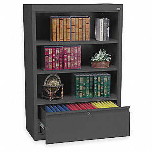 Bookcase Drawer Cabinet,3 Shelf,Blk