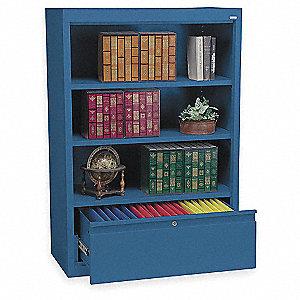 Bookcase Drawer Cabinet,3 Shelf,Blue
