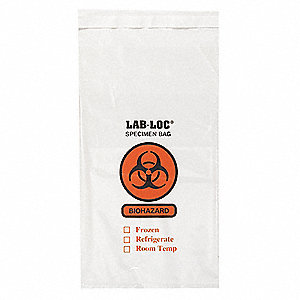 Clear Specimen Transfer Bag, Super Heavy Strength Rating, Flat Pack, 1000 PK