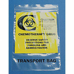 CHEMO WASTE BAG,CLEAR,9 IN. L,PK 10