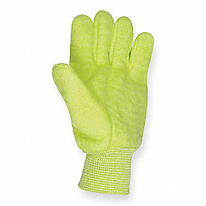 Cold Protection Gloves, Unlined Lining, Knit Wrist Cuff, Hi Viz Green, XL, PR 1