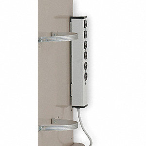 "White Hospital Grade 6-Outlet Strip, 4-1/8"" Height"