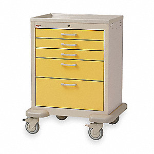 Medical Cart,Steel/Polymer,Taupe/Yellow
