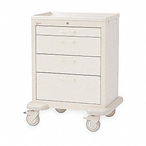 "30""D x 24-1/4""W x 39""H Steel Body/Drawers, Polymer Components Medical Cart, 600 lb. Load Capacity"