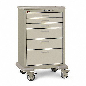 "30""D x 24-1/4""W x 45""H Steel Body/Drawers, Polymer Components Medical Cart, 600 lb. Load Capacity"