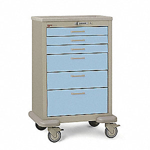 Medical Cart,Steel/Polymer,Taupe/Blue