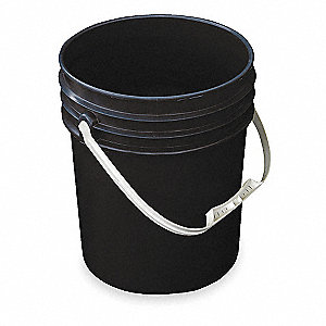 Pail,Open Head,Round,5 gal,HDPE,Black