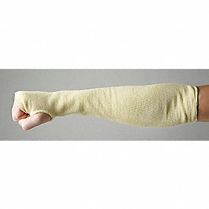 "Kevlar® Sleeve with Thumbhole, 18"" Cuff, Yellow, Sleeve Size: Universal"