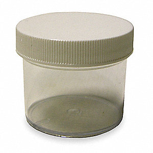 2 oz. Plastic Jar, Wide Mouth, Plastic, EA 1