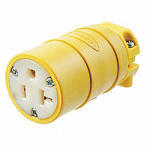 20 Amp General Grade Standard Straight Blade Connector, 5-20R NEMA Configuration, Yellow