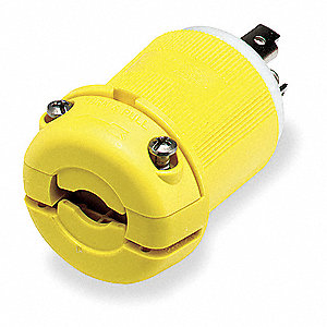30A Marine Grade Non-Shrouded Locking Plug, Yellow; NEMA Configuration: L5-30P