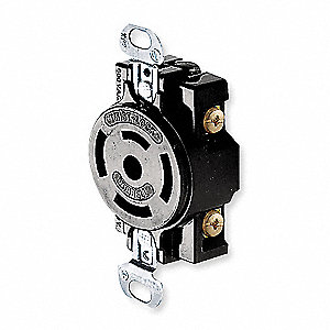 Black Locking Receptacle, 20/10 Amps, 250/600VAC Voltage, NEMA Configuration: Non-NEMA