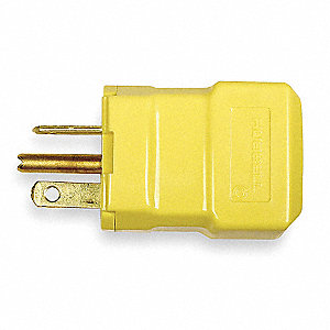20A Industrial Grade Straight Blade Plug, Yellow&#x3b; NEMA Configuration: 5-20P